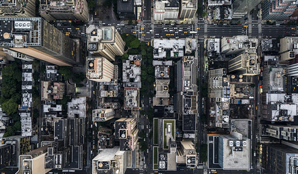 high-level overhead view of a city showing streets and intersections photo