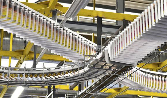 复杂印刷材料折叠机照片俯视图