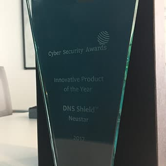 photo of award for innovative product of the yeard from Cyber Security Awards
