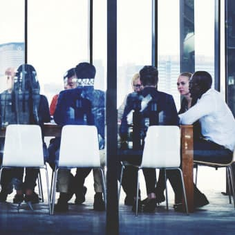 photo of business meeting at table