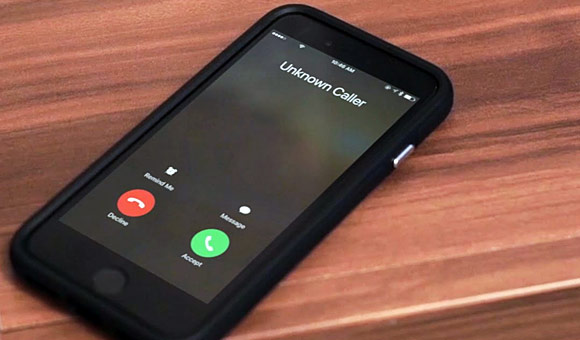 iphone with display reading unkown caller