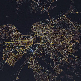 satellite view of city at night