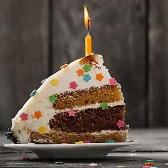 photo of birthday cake with candle