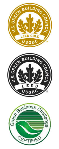 US Green Building Council USGBC logos for LEED Certification and green business challenge certification logo
