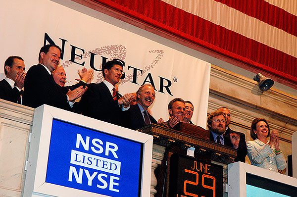photo of neustar on opening day at new york stock exchange