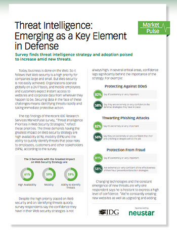 Report: Threat Intelligence—Emerging as a Key Element in Defense cover
